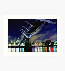 MILENNIUM BRIDGE AT NIGHT LONDON Art Print