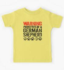 Warning Protected By A German Shepherd Kids Tee