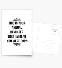Annual Reminder Snarky Birthday Card Postcards