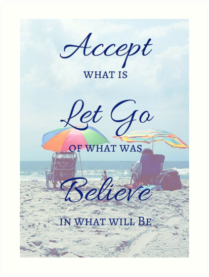 Accept Let Go Believe Beach Quote Art Prints By M4rg1 Redbubble