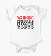 Warning Protected By A Boxer Kids Clothes