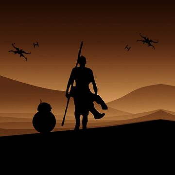 Rey and BB-8 Silhouette Art by TumblrVerse