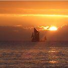 Sailing barge at sunrise by Jax Blunt