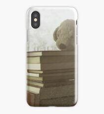 Soft vintage background for children. Childhood memory: Teddy dog sitting on books. Books stacked on the windowsill. iPhone Case/Skin