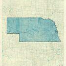 Nebraska State Map Blue Vintage by HubertRoguski