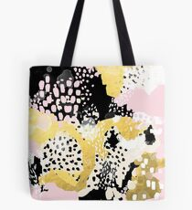 Simone - abstract painting gold foil trendy hipster pastel pink modern trendy colors decor college Tote Bag