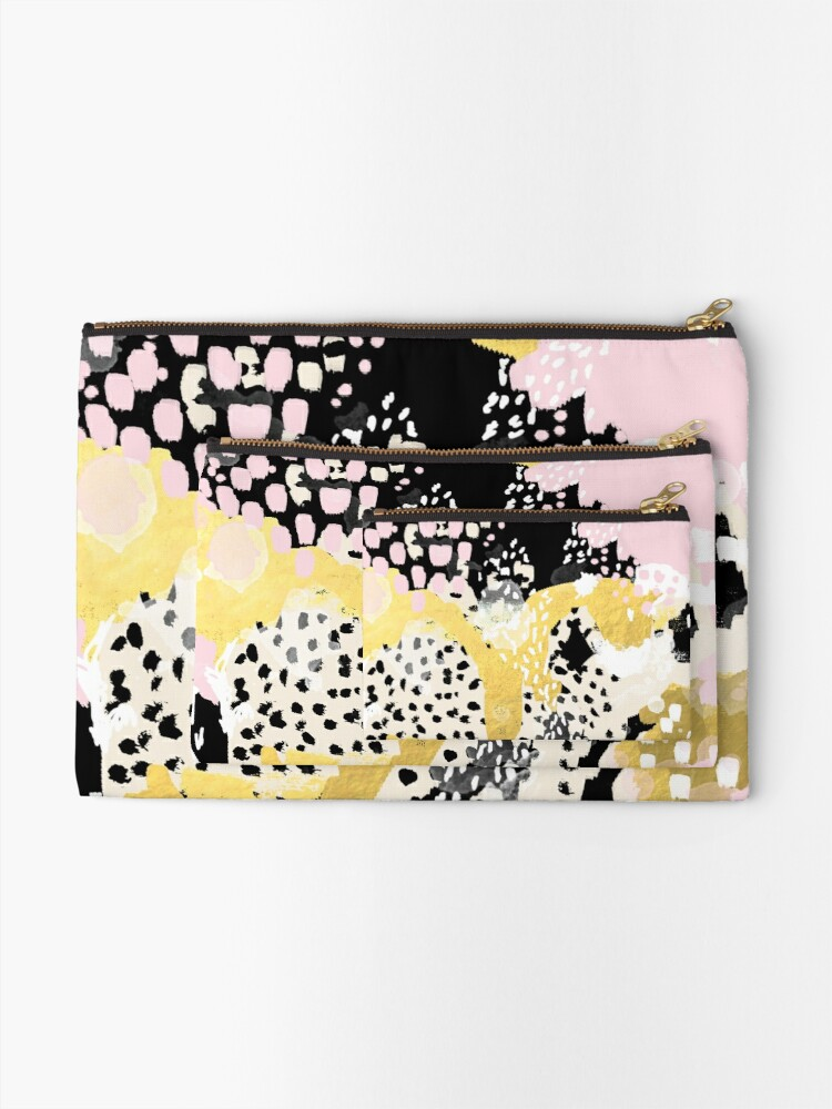 Alternate view of Simone - abstract painting gold foil trendy hipster pastel pink modern trendy colors decor college Zipper Pouch