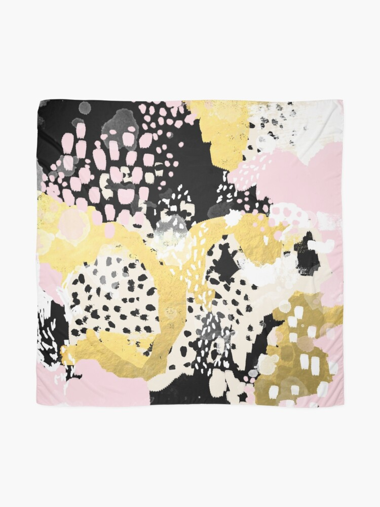 Alternate view of Simone - abstract painting gold foil trendy hipster pastel pink modern trendy colors decor college Scarf