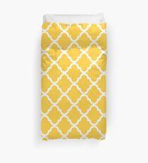 Mustard Yellow White Quatrefoil Pattern Duvet Cover