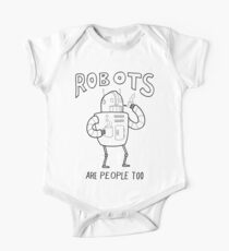 Robots are People Too- Black and White Cartoon Beauty and Powerful Message One Piece - Short Sleeve