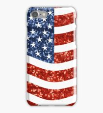 glitter american flag iPhone Case/Skin