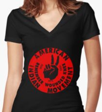 AIM (American Indian Movement) Women's Fitted V-Neck T-Shirt