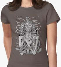 grayscale image of pharaoh mummy with snakes T-Shirt