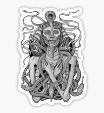 grayscale image of pharaoh mummy with snakes Sticker