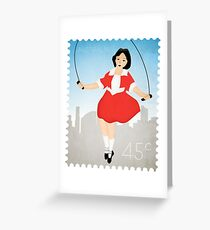 Skipping Girl Vinegar Postage Stamp Greeting Card