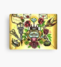 frog prince and scissors, love letters Canvas Print