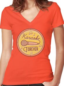 Karaoke Forever Women's Fitted V-Neck T-Shirt