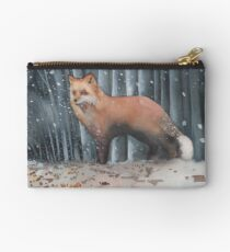 Red Fox in a Snowstorm Studio Pouch