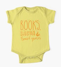 Books, Bacon and board games One Piece - Short Sleeve