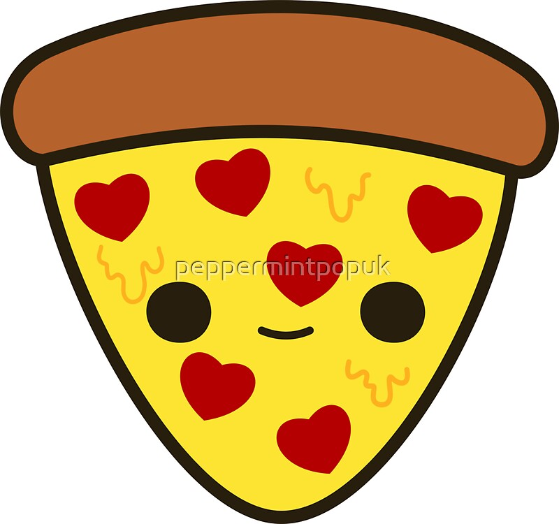 Quot Cute Pizza With Heart Toppings Quot Stickers By