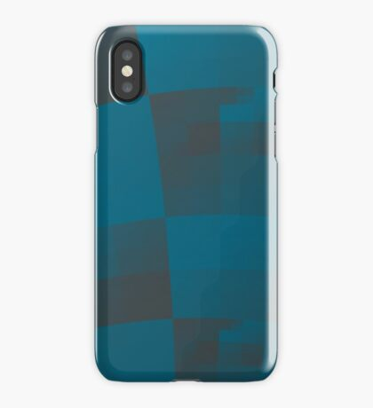 Squares Abstract Pattern Blue iPhone Case