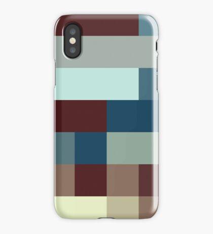 Checkered Pattern Design Brown Blue Tan iPhone Case