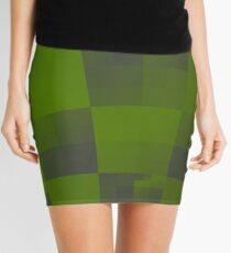 Green Squares Pattern Design Mini Skirt