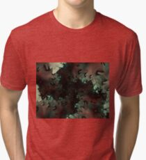 Red Green Snowflake Abstract Design Tri-blend T-Shirt