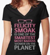 Felicity Smoak - Smartest Badass - Pink Glasses Women's Fitted V-Neck T-Shirt