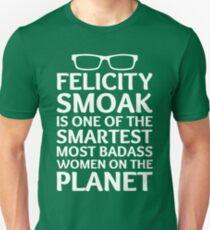 Felicity Smoak - Smartest Badass - White Glasses T-Shirt