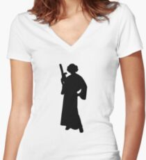 Star Wars Princess Leia Black Women's Fitted V-Neck T-Shirt