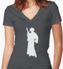 Star Wars Princess Leia White Women's Fitted V-Neck T-Shirt