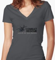 Combat Rescue- Leave no man behind Women's Fitted V-Neck T-Shirt