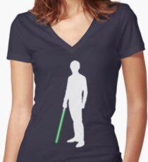 Star Wars Luke Skywalker White Women's Fitted V-Neck T-Shirt