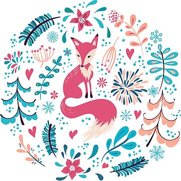 Fox with winter flowers and snowflakes by Lidiebug