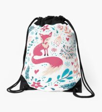 Fox with winter flowers and snowflakes Drawstring Bag