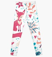 Fox with winter flowers and snowflakes Leggings