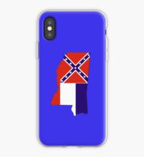 Mississippi Map with Mississippi State Flag iPhone Case
