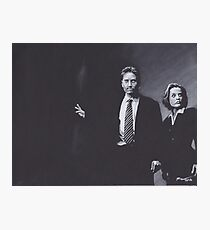 Original Charcoal Drawing of Dana Scully and Fox Mulder from X Files Photographic Print