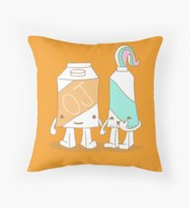 The Cutest Couple: Orange Juice & Toothpaste Throw Pillow