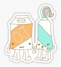 The Cutest Couple: Orange Juice & Toothpaste Sticker