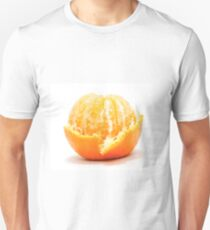Half peeled tangerine on white background T-Shirt