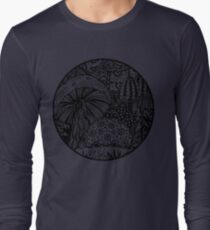 Mushroom Circle Var 3 - Transparent No Black Surround Aussie Tangle  Long Sleeve T-Shirt