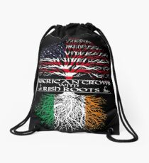 American Grown with Irish Roots Drawstring Bag