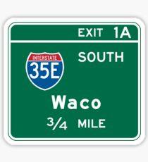 Waco, Road Sign, Texas Sticker
