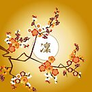 Japanese Plum Blossoms Dignified Moon Branch Gold Orange by Beverly Claire Kaiya