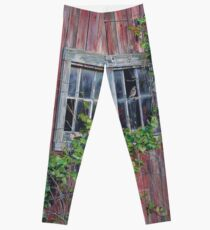 Barn Windows, by artist Lynn Garwood Leggings