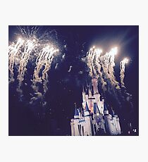 Magic Kingdom Castle With Fireworks Photographic Print