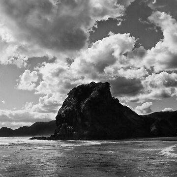 lion rock at piha redux by watersoluble