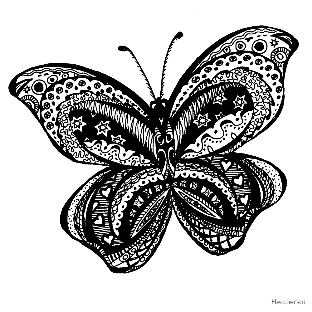 Butterfly Aussie Tangle Black & White  by Heatherian